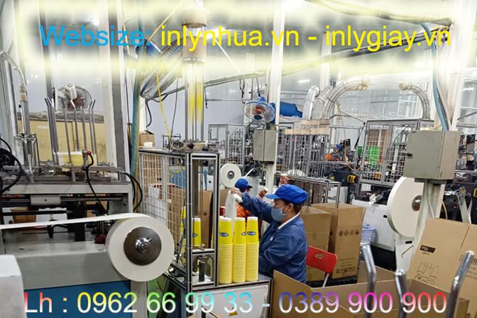 Nhà máy đang sản xuất ly giấy cho Khách hàng Ness Tea
